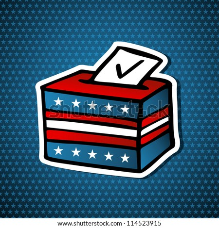 USA elections Ballot Box sketch style icon over blue stars background. Vector file layered for easy manipulation and custom coloring. - stock vector