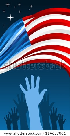 USA elections hand people vote with waving flag illustration background. Vector file layered for easy manipulation and custom coloring.