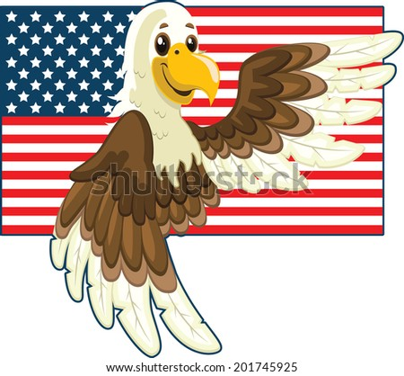 USA flag and eagle illustration (Independence Day) - stock vector