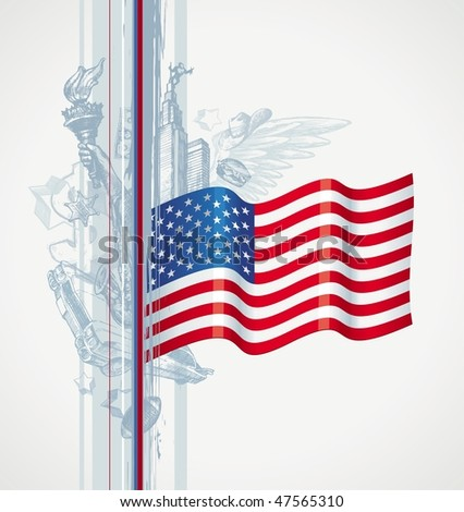USA flag and hand drawn attributes of the American life - stock vector