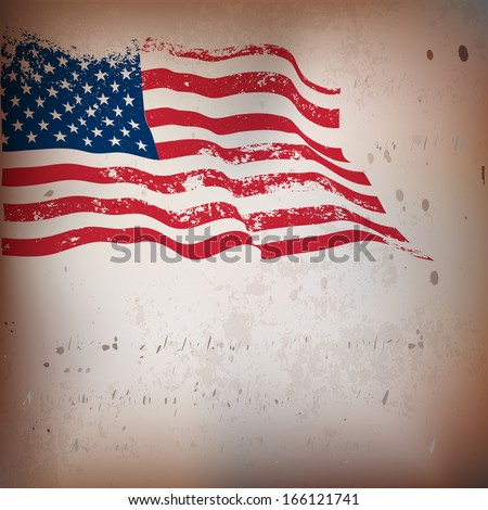 USA flag grunge old textured background.  EPS10 - stock vector