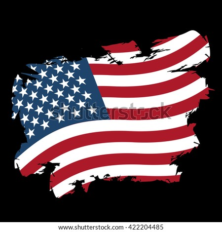 USA flag grunge style on black background. Brush strokes and ink splatter. National symbol of America - stock vector