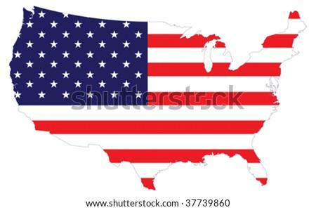 USA Flag map - stock vector