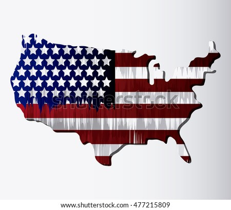 usa flag map landmark patriotic united states of america icon. Colorful and grunge design. Vector illustration
