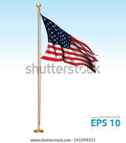 USA flag on flag pole - stock vector