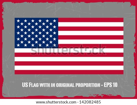 USA Flag On Grey Grunge Background Vector Illustration - stock vector