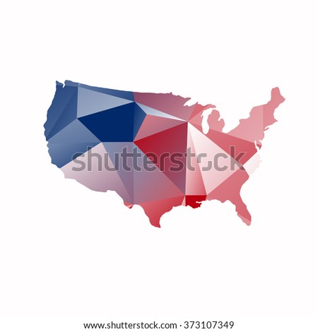 USA flag. Shape of American map. United States of America. Vector illustration. - stock vector