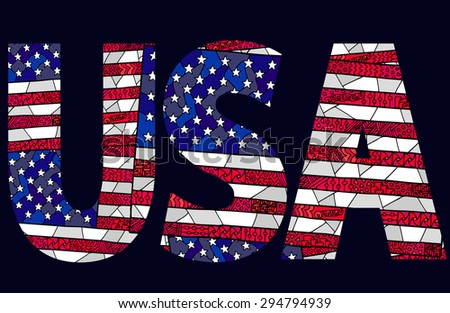 USA flag sign. Zentangle colorful title USA with american flag background made with clipping mask. Vector USA ornament can be used for web design, textures, creating textile, cards and other crafts. - stock vector