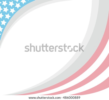 USA flag soft pale frame with copy space.