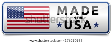USA flag, United States of America - glossy button banner with reflection and shadow on white background - stock vector