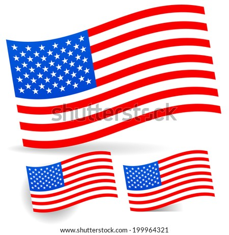 USA flag with different shadows