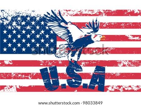 Usa flag with eagle - stock vector