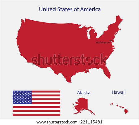 USA flag with map.Stock vector. - stock vector
