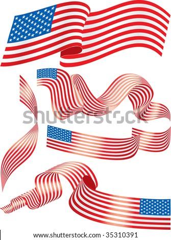 USA flags - stock vector