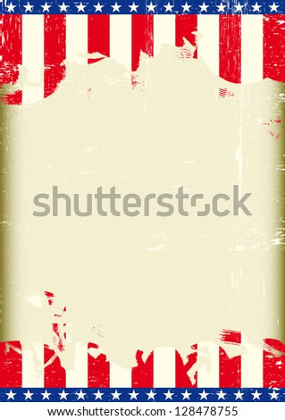 USA Grunge flag. A poster with a large scratched frame and a grunge us flag for your publicity. - stock vector
