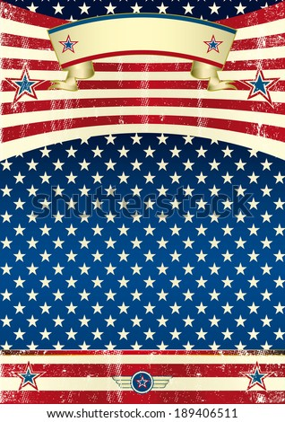 USA grunge poster. An american background with a grunge texture for your publicity. - stock vector