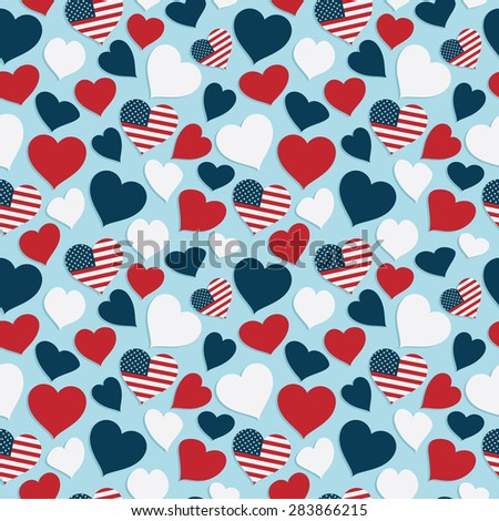 usa heart seamless pattern background for your designs - stock vector