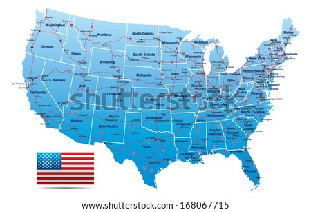 USA Highway Map - stock vector
