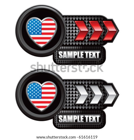 usa icon red and white arrow nameplates - stock vector