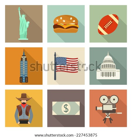 USA icon set - stock vector