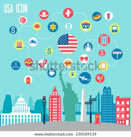 USA icon set. Vector illustration. - stock vector