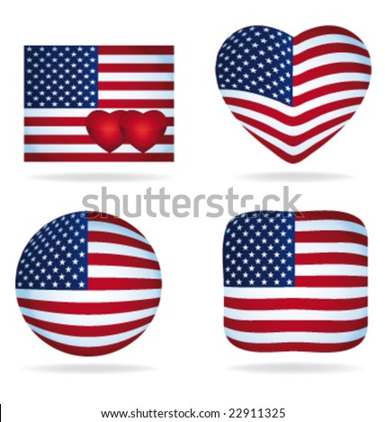 USA icons pack vector - stock vector
