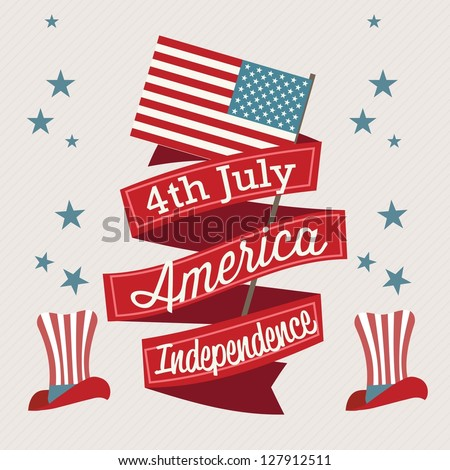 USA Icons (4th of July Independence day) with hat, and flag. Vector Illustration - stock vector
