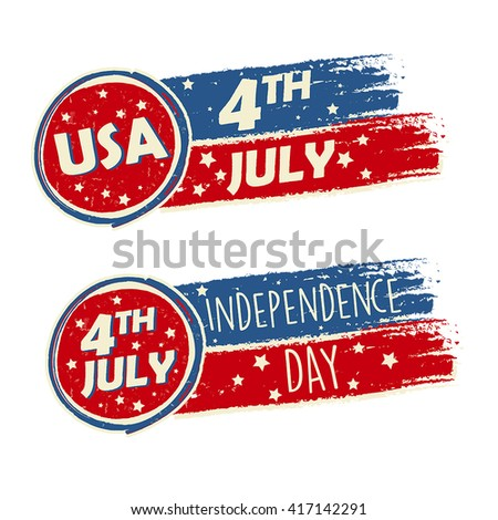 USA Independence Day and 4th of July with stars in drawing banners - American holiday concept, vector - stock vector