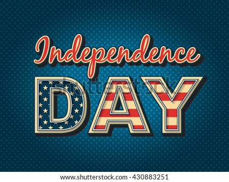 USA Independence day - stylized lettering with American flag colors. - stock vector