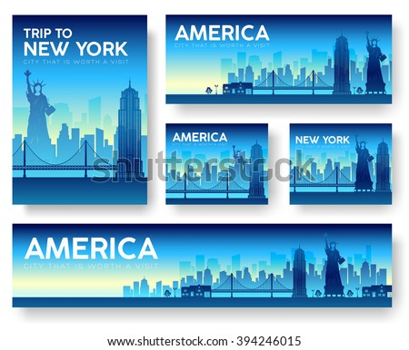 USA landscape vector banners set. USA icons. USA posters. USA banners. USA flyer. Flat USA brochure with typography. USA invitation. USA cards. USA mock up. USA label. Japan night. USA new york city. - stock vector