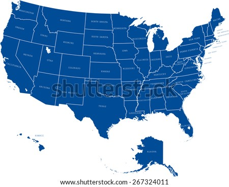 Usa Map States Capital Cities Stock Vector Shutterstock - Map of usa without names