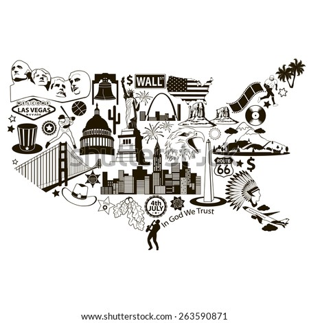 USA map. American map with black vector icons and symbols - stock vector