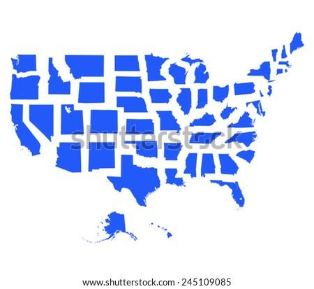 usa map and all states - Illustration - stock vector