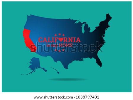 Usa Map California My Word Saying Stock Vector 2018 1038797401