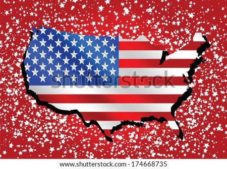 USA map and flag - stock vector