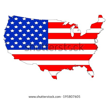 USA map and flag against white background  - stock vector