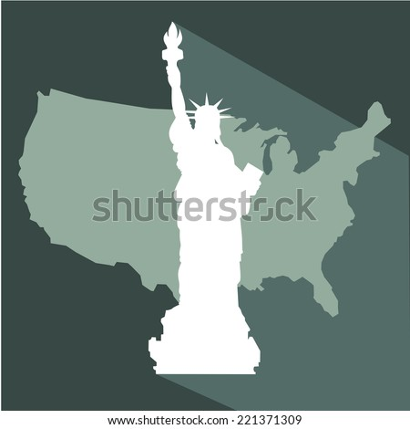 USA map and History Of The Statue Of Liberty  vector - stock vector