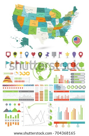 Usa Map And Infographics Design Elements Business Template In Flat Style For Presentation Booklet