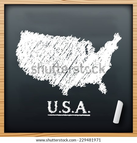 Usa map chalkboard design effect  in vector format - stock vector