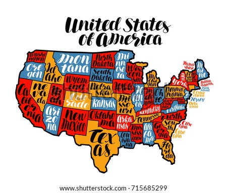 Poster Map United States America State Stock Vector - Usa map states