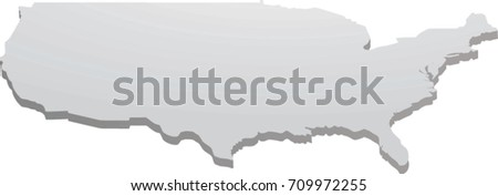 Usa Map 3d Perspective View Vector Ilration