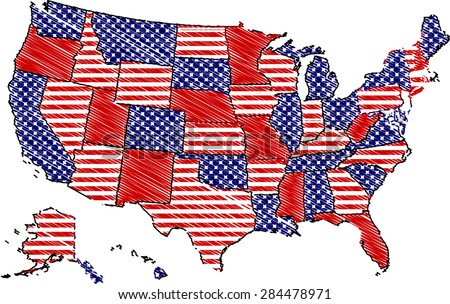 Usa Map In Patchwork Style Color Pencils Strokes