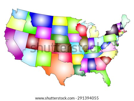 USA map infographics. Colorful map of  USA states on white backgroun. Vector illustration - stock vector