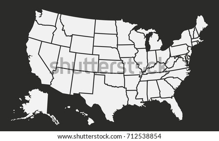 USA Map Isolated On Black Background Stock Vector (Royalty Free ...
