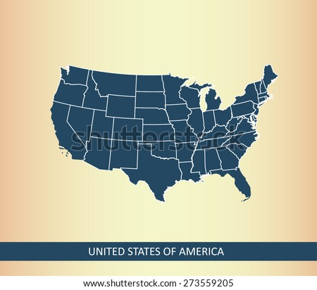 USA map on an abstract background, United States map outlines with a color of American flag, blue - stock vector