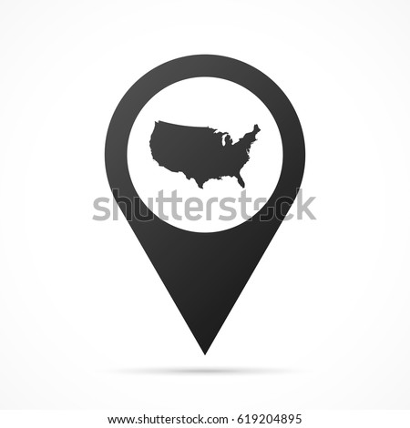 Usa Map On Location Pin Map Stock Vector Shutterstock - Usa location