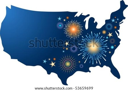 USA map outline with fireworks - stock vector