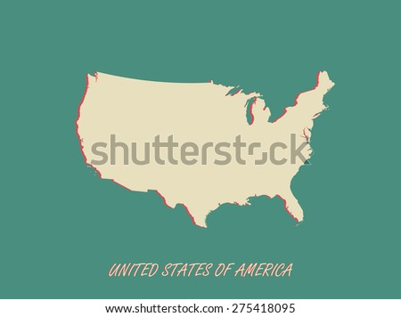 USA map outlines in a 3D background, vector map of USA in three dimensional construction - stock vector