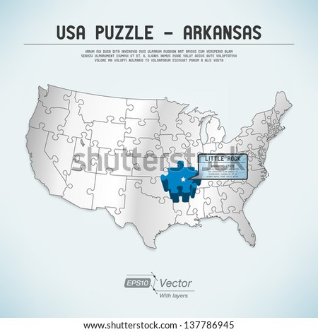 USA map puzzle - One state-one puzzle piece - Arkansas, Little Rock - stock vector