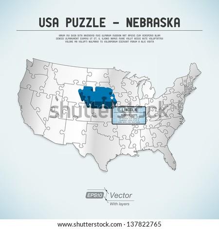 Usa map puzzle retro colors stock vector 138385292 shutterstock usa map puzzle one state one puzzle piece nebraska lincoln gumiabroncs Choice Image